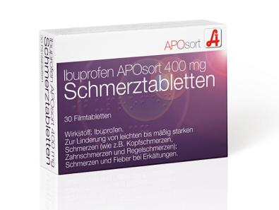 Ibuprofen APOsort 400 mg Schmerztabletten